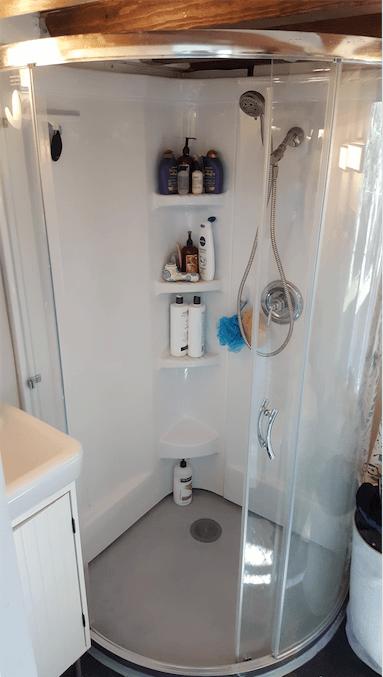 Tiny House Water Usage - Corner Shower